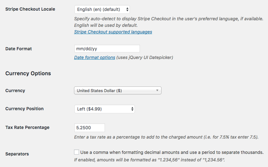 Currency Locale And Date Format Settings WP Simple Pay Documentation - Invoice simple stripe