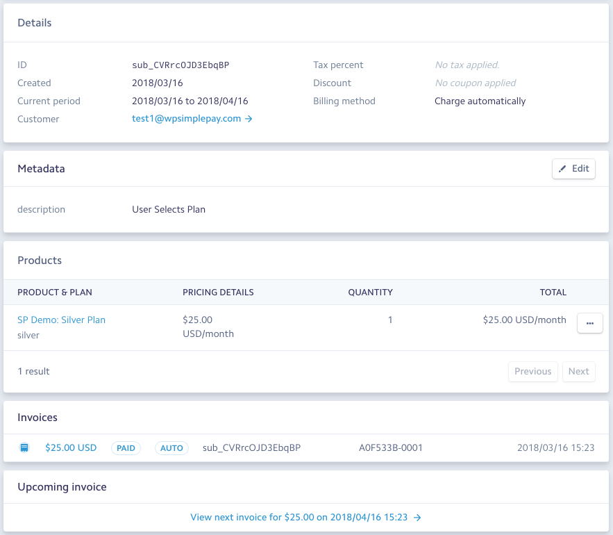 Viewing Subscription Details In Stripe WP Simple Pay Documentation - Invoice simple stripe
